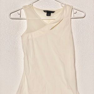 A|X Armani Exchange White V-Neck Faux Wrap Sheer